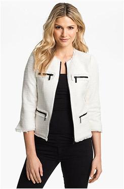 MICHAEL Michael Kors Zip Front Tweed Jacket