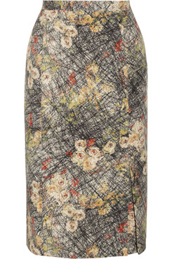 Printed Silk Crepe de Chine Pencil Skirt