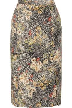 Printed Silk Crepe de Chine Pencil Skirt