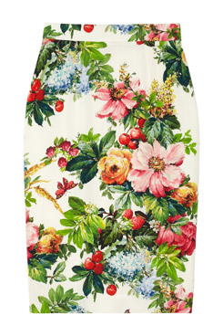 Printed Stretch Silk Pencil Skirt