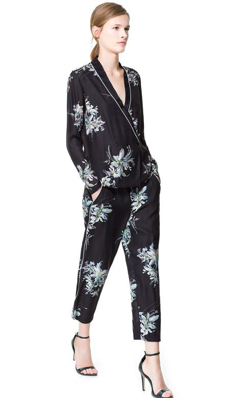 Zara Printed Pajama Bottoms