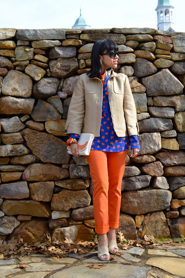 Printed Hearts Shirt & Orange Pants
