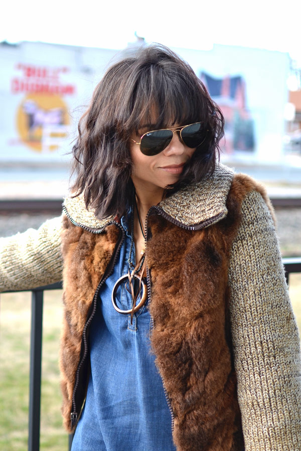 Brown Fur Jacket & Ray Ban Aviators