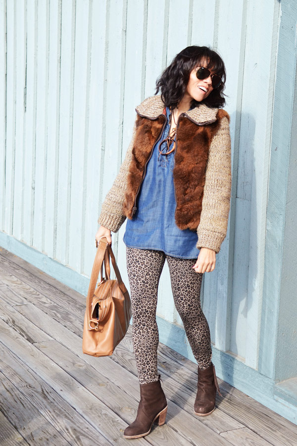 Leopard Pants & Fur Coat & Booties