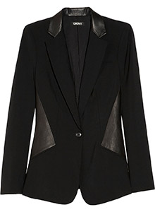 DKNY Leather Paneled Stretch Wool Blazer