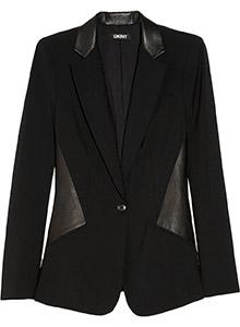 DKNY Leather Paneled Stretch Wool Blazer