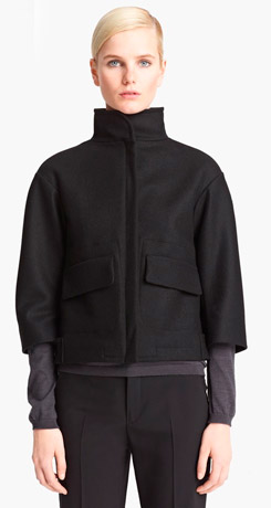 Jil Sander Funnel Neck Wool Coat