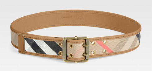 Leather Accented Check Belt