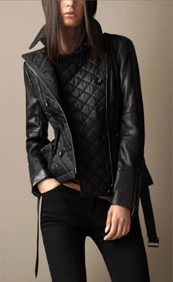 Burberry Leather Detail Quilted Jacket