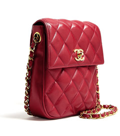 Red Leather Quilted Chanel Shoulder Bag