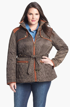 Vince Camuto Faux Suede Trim Quilted Jacket