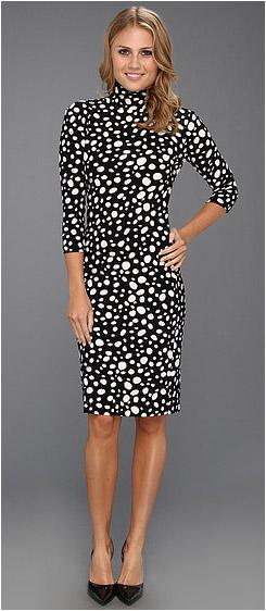 3/4 Sleeve Turtleneck Dress To Knee