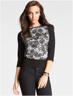 Ann Taylor Lace Print 3/4 Sleeve Top