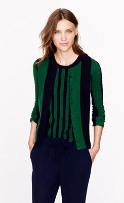 Cashmere Cardigan in Wide Stripe