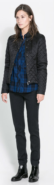 Zara Contrasting Quilted Jacket