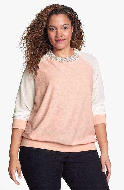 Gibson Embellished Mixed Media Sweatshirt