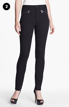 NYDJ Zip Trim Skinny Stretch Ponte Pants