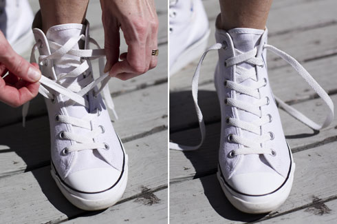 How To Tie Shoes Without Laces Showing