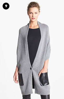 Nordstrom Knit Vest With Faux Leather Pockets