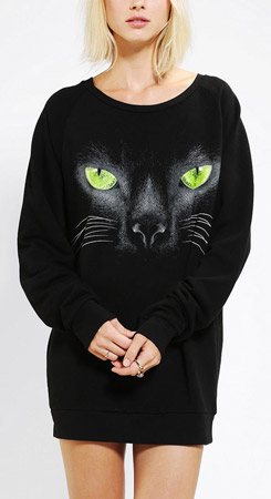 Sparkle & Fade Black Cat Pullover Sweatshirt