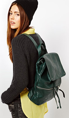 ASOS Tumbled Leather Front Zip Backpack