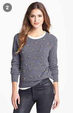 Halogen Embellished Cashmere Sweater