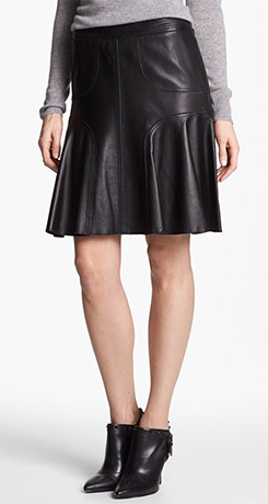 Halogen Leather A-Line Skirt