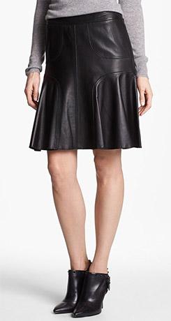 Halogen Leather A-Line Skirt