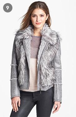 Kristen Blake Faux Shearling & Faux Fur Moto Jacket
