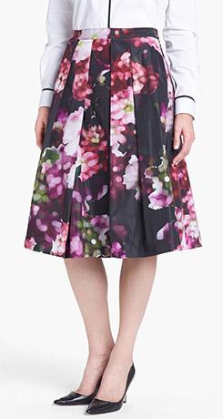 Pink Tartan Floral Print Pleated Midi Skirt