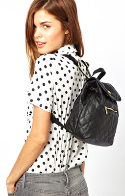 Warehouse Quilted Chain Detail Backpack