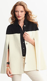 BR Monogram Colorblock Wool Cape