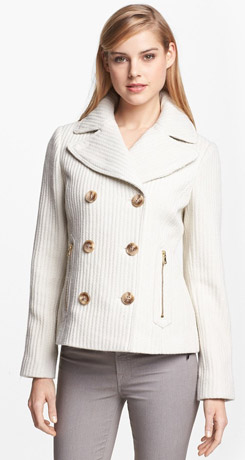 GUESS Double Breasted Textured Wool Peacoat