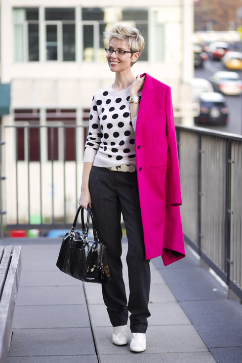 Pink Coat - One Shoulder