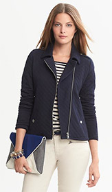 Quilted Knit Moto Jacket