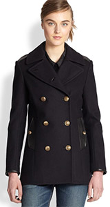 Rag & Bone Battle Leather Trimmed Double Breasted Peacoat