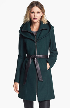 Soia & Kyo Hooded Wool Blend Coat with Leather Belt