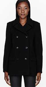 T by Alexander Wang Black Pilly Wool Felt Peacoat