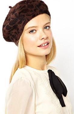 ASOS Angora Beret Hat In Leopard