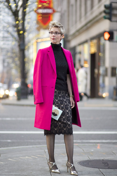 Holiday Coat over the Shoulders
