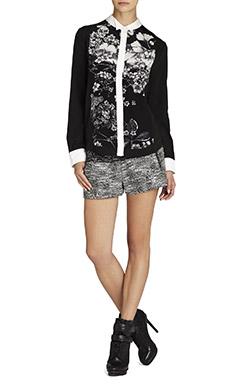 Keline Printed Silk Tuxedo Shirt