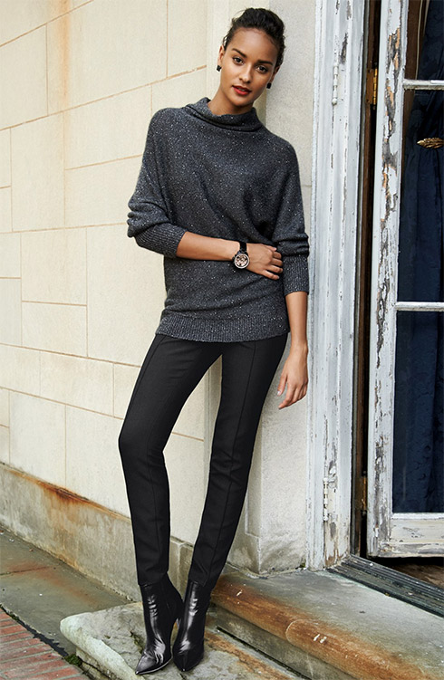 Nordstrom Collection Sequin Funnel Neck Sweater