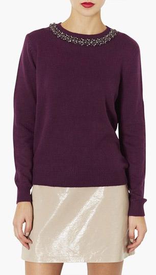 Topshop Embellished Neck Sweater