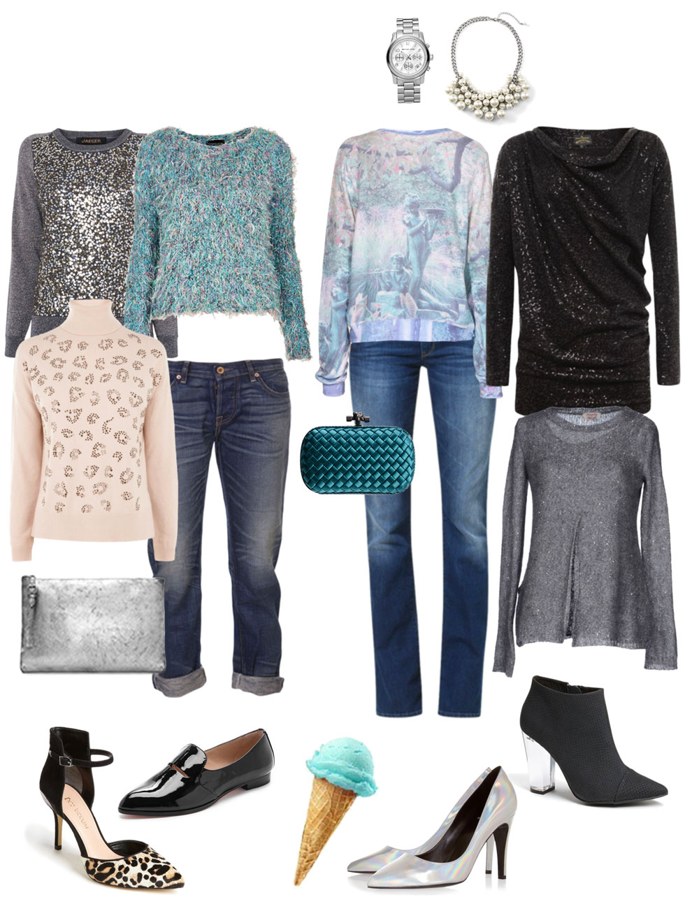 Party Ensemble: Jeans and Festive Sweater