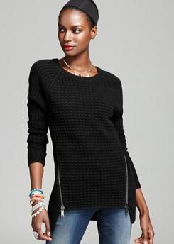 Aqua Sweater Novelty Stitch Zip Pullover