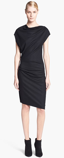 Helmut Lang Sonar Wool Asymmetrical Sleeve Dress