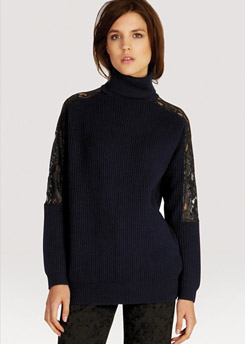 KAREN MILLEN Sweater Chunky Knit Lace Collection