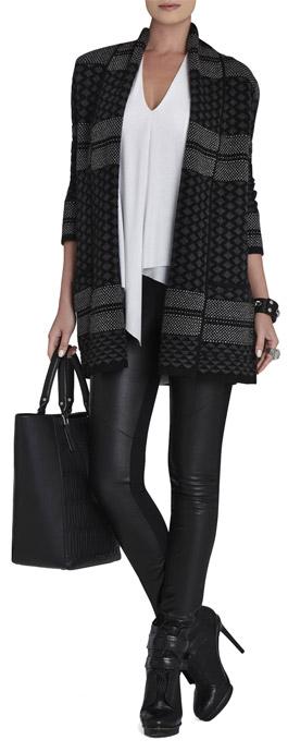 Shadia Textured Jacquard Sweater Coat