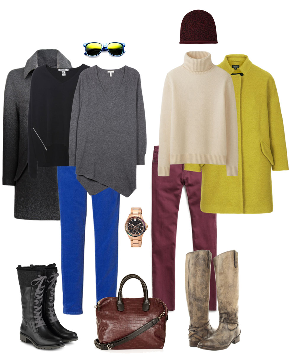 Ensemble: Cobalt & Burgundy Skinnies with Boots