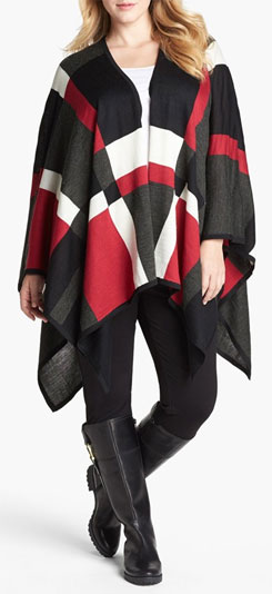 Foxcroft Plaid Poncho Sweater